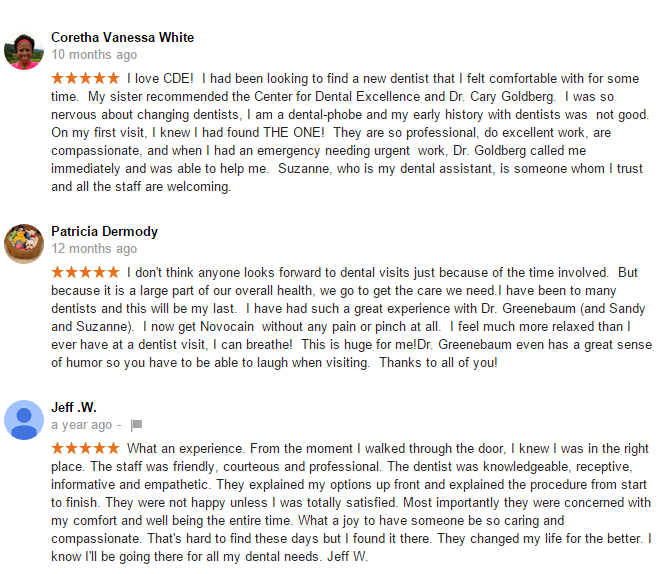 Reviews Of Flossmoor Dentists Of The Center For Dental Excellence