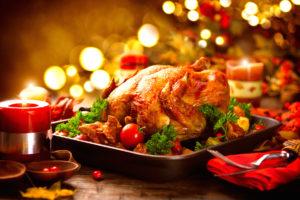 Thanksgiving dinner, Thanksgiving turkey. Served table. Thanksgi